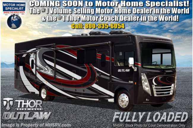 2020 Thor Motor Coach Outlaw Toy Hauler 38MB Toy Hauler RV for Sale at MHSRV W/ Dual Pane, Garage Sofas