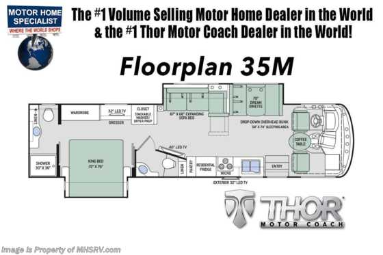 2020 Thor Motor Coach Hurricane 35M Bath & 1/2 Class A Gas RV W/ King, Ext TV & OH Loft Floorplan