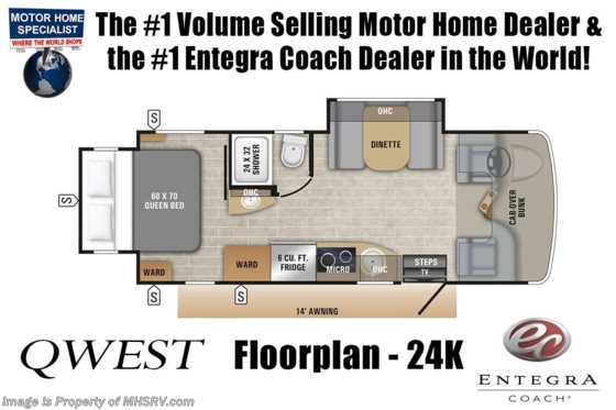 2020 Entegra Coach Qwest 24K Sprinter Diesel RV for Sale W/ Jacks, 2 Yr Warranty & Dsl Gen Floorplan
