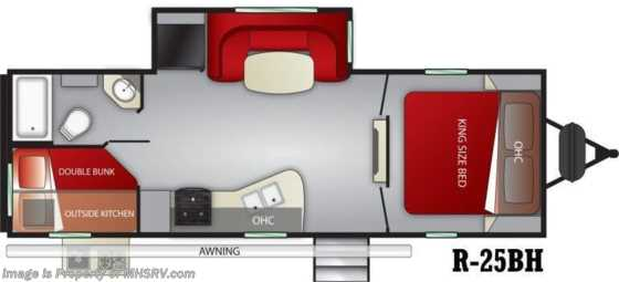 2020 Cruiser RV Radiance Ultra-Lite 25BH Bunk Model RV W/ King, 2 A/Cs & Stabilizers Floorplan