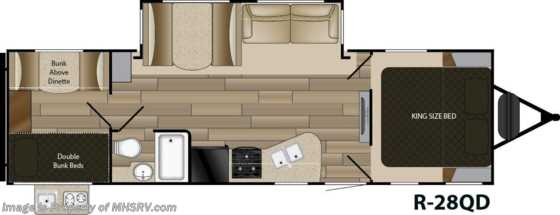 2020 Cruiser RV Radiance Ultra-Lite 28QD Bunk Model RV W/ King, Stabilizers & 2 A/Cs Floorplan