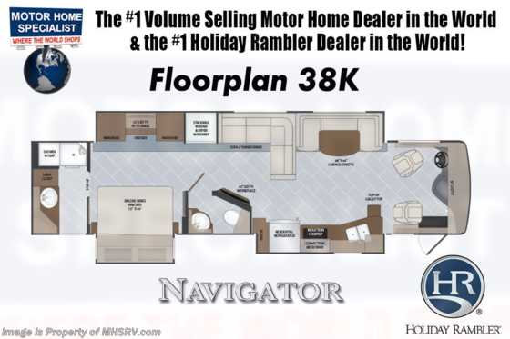2020 Holiday Rambler Navigator 38K Bath & 1/2 Diesel Pusher RV for Sale W/ King, OH Loft Floorplan
