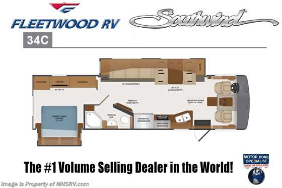 2020 Fleetwood Southwind 34C RV for Sale W/ OH Loft, Theatre Seating, Collision Avoidance Floorplan