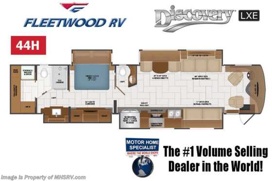 2020 Fleetwood Discovery LXE 44H Bath & 1/2 Diesel Pusher RV W/ 450HP, King, Theater Seats, Loft Floorplan