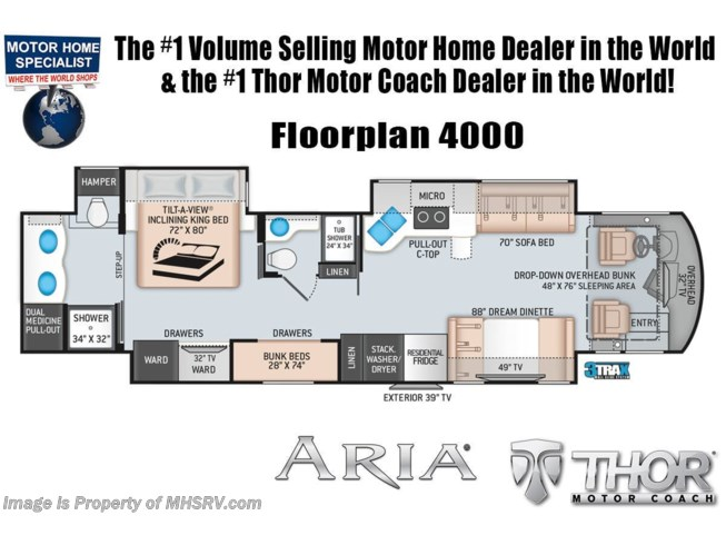 Floorplan of 2020 Thor Motor Coach Aria 4000