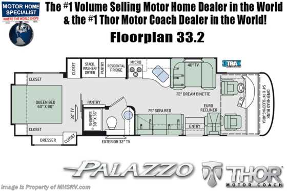 2020 Thor Motor Coach Palazzo 33.2 Diesel Pusher W/300HP, Stack W/D, Studio Collection Floorplan