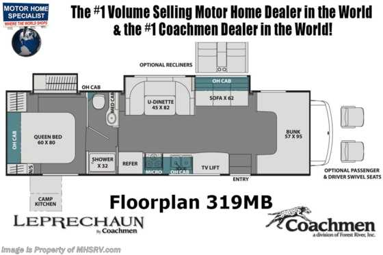 2020 Coachmen Leprechaun 319MB Exterior Kitchen, Dual A/Cs, Dual Recliners, WiFi Floorplan