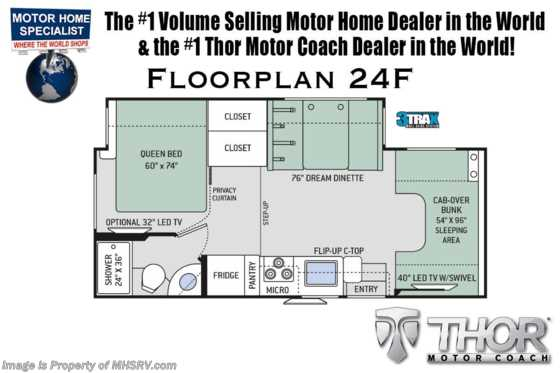 2020 Thor Motor Coach Four Winds 24F W/15K A/C, Convection, Side Cams & Ext TV Floorplan