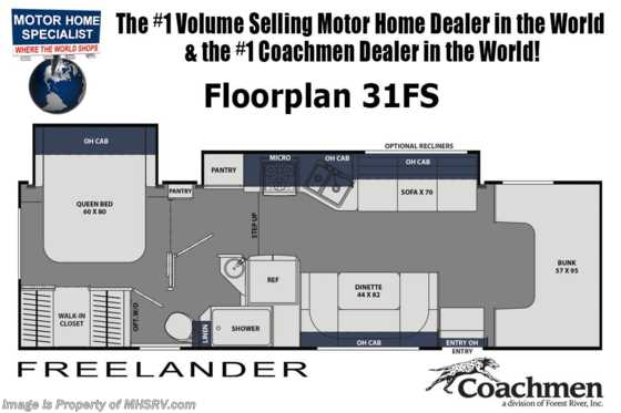 2020 Coachmen Freelander  31FS W/D Prep, Dual A/Cs, Ext TV, 3-Camera System & Jacks! Floorplan