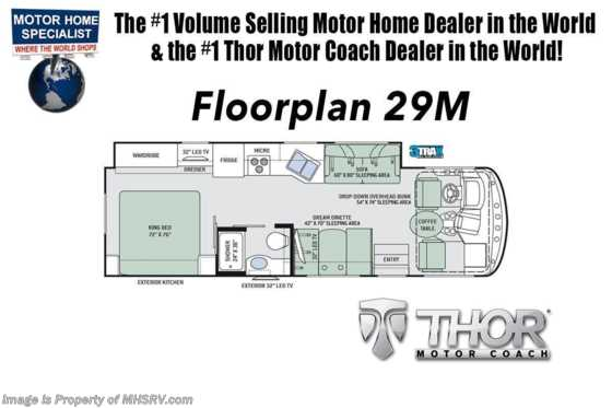 2020 Thor Motor Coach Hurricane 29M W/ Theater Seats, King Bed, Partial Paint, 2 A/Cs, 5.5KW Gen Floorplan