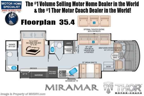2020 Thor Motor Coach Miramar 35.4 Bath & 1/2 RV for Sale W/ Dual Pane, Theater Seat & King Floorplan
