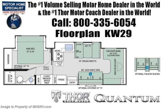2020 Thor Motor Coach Quantum KW29 RV for Sale W/ Theater Seats, FBP, 2 A/Cs, King Floorplan