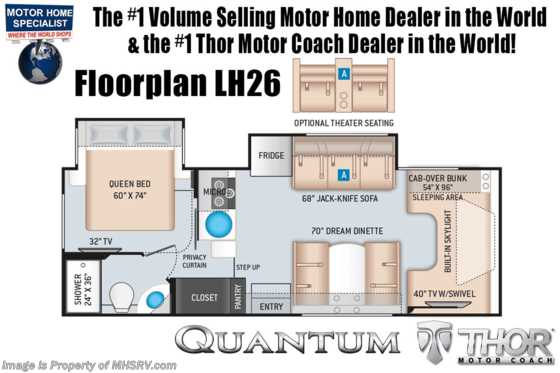 2020 Thor Motor Coach Quantum LH26 RV for Sale W/ Theater Seats, Nav, Ext TV & 15K A/C Floorplan