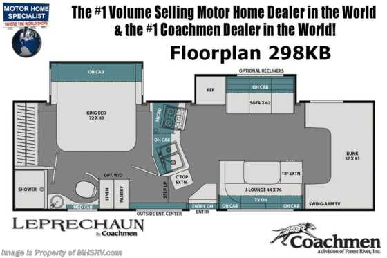 2020 Coachmen Leprechaun 298KB Class C RV W/ King, 2 A/Cs, Rims, Jacks, Ext TV Floorplan