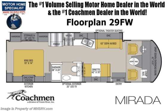 2020 Coachmen Mirada 29FW W/ 2 A/Cs, King Bed, Exterior TV Floorplan