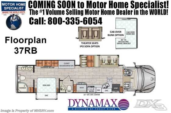 2021 Dynamax Corp DX3 37RB Bath & 1/2 Super C W/ Chrome Package, Theater Seats, Cab Over Floorplan