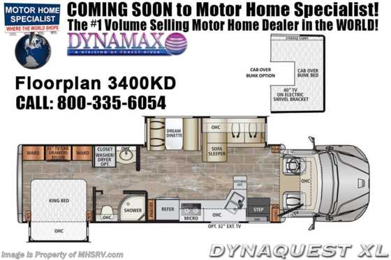 2021 Dynamax Corp Dynaquest XL 3400KD Diesel Super C W/ Cab Over, Theater Seats & Solar Floorplan