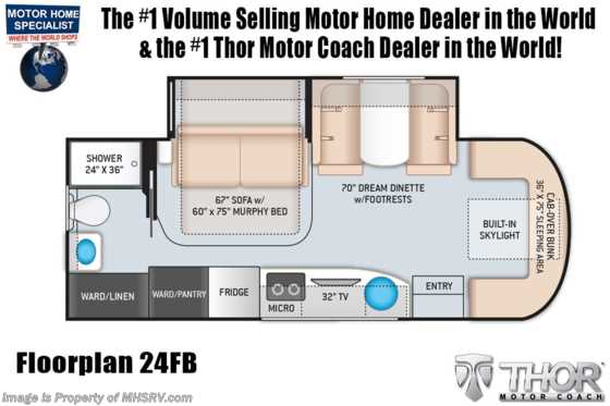2021 Thor Motor Coach Tiburon 24FB Sprinter Dsl W/ 15.0 A/C with Heat Pump Floorplan