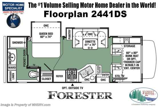 2020 Forest River Forester 2441DS Class C RV for Sale W/ 15K A/C, Solar & Arctic Pkg Floorplan