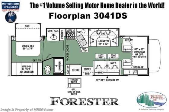 2021 Forest River Forester 3041DS RV for Sale W/ 2 A/Cs, FBP, Solar, Theater Seats Floorplan
