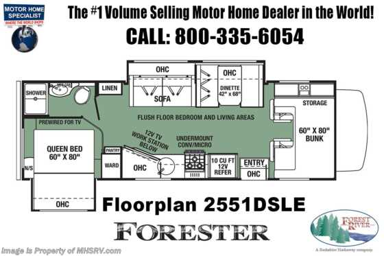 2020 Forest River Forester LE 2551DS Class C RV W/ Auto Jacks, 15K A/C Floorplan