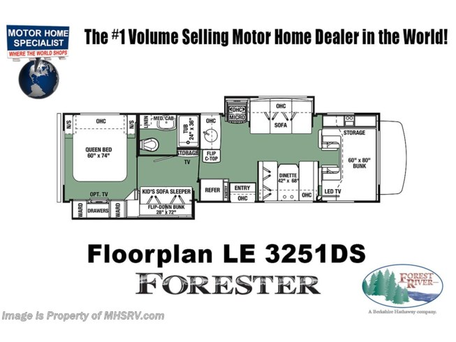 Floorplan of 2020 Forest River Forester LE 3251DS