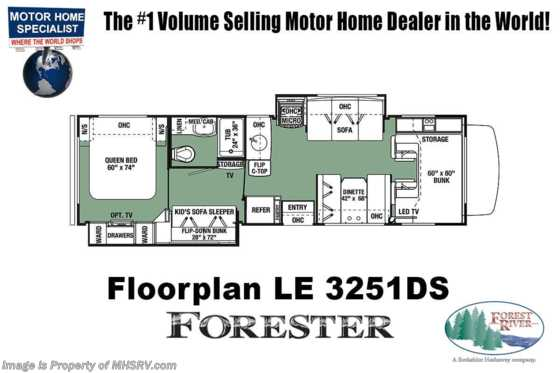 2021 Forest River Forester LE 3251DS Bunk Model Class C RV W/ 15K A/C, Auto Jacks & Arctic Pkg Floorplan