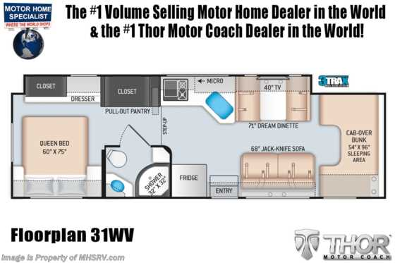 2020 Thor Motor Coach Chateau 31WV Victory Series Class C RV for Sale W/ 2 A/Cs Floorplan