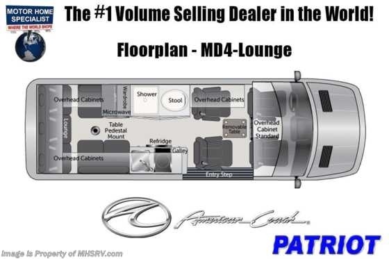 2021 American Coach Patriot MD4- Lounge Sprinter Diesel RV for Sale W/ WiFi & OH TV Floorplan