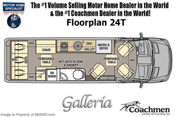 2020 Coachmen Galleria 24T 4x4 Sprinter W/ 20K A/C, Li3 Lithium Battery System Floorplan