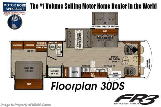 2020 Forest River FR3 30DS Class A RV W/ Theater Seats & W/D Floorplan