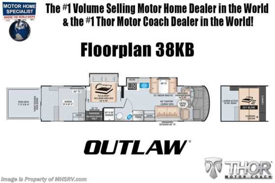 2020 Thor Motor Coach Outlaw Toy Hauler 38KB Class A Toy Hauler RV W/ Dual Pane, King Bed, Garage Sofas Floorplan