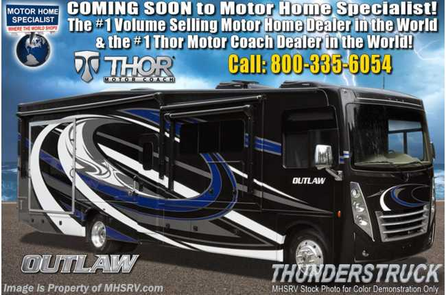 2020 Thor Motor Coach Outlaw Toy Hauler 38KB Class A Toy Hauler RV W/ Dual Pane, King Bed & Garage Sofas