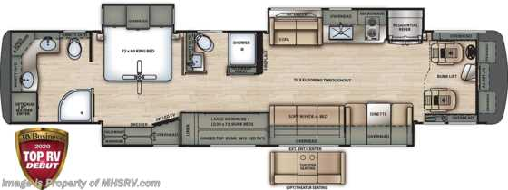 2020 Forest River Berkshire XLT 45CA-450 2 Full Bath Bunk Model RV W/ Theater Seats, 450HP, King Floorplan