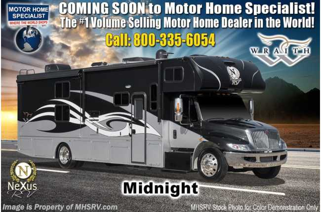 2021 Nexus Wraith 35W Bunk Model Super C International Diesel W/Theater Seats,  Ext TV