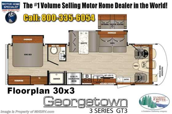 2020 Forest River Georgetown GT3 33B3 W/ King Bed, P2K Power OH Loft Floorplan