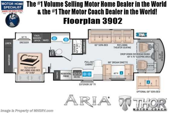 2020 Thor Motor Coach Aria 3902 Luxury Bath & 1/2 RV W/King, 360HP, Studio Collection, Theater Seat Floorplan