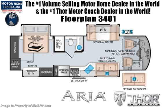 2021 Thor Motor Coach Aria 3401 Luxury Diesel RV for Sale W/ Theater Seats, 360HP, Studio Collection Floorplan