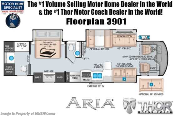 2021 Thor Motor Coach Aria 3901 Luxury Bath & 1/2 Diesel RV W/ King, Theater Seats, 360HP Floorplan