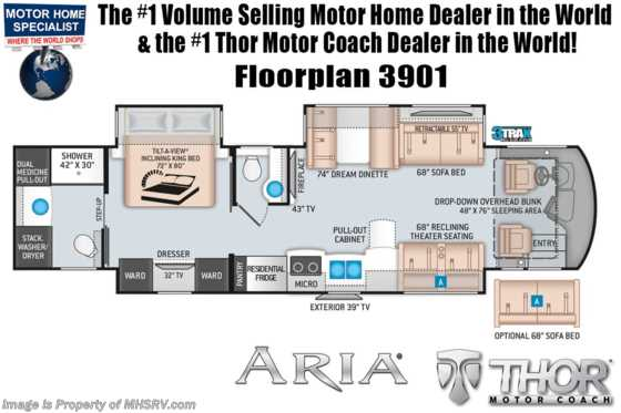2020 Thor Motor Coach Aria 3901 Luxury Bath & 1/2 RV W/ King, Theater Seats, 360HP Floorplan