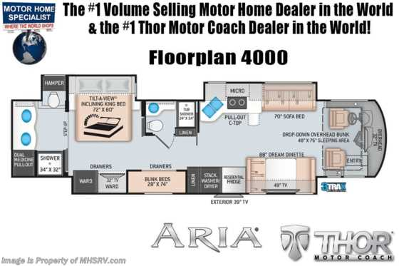 2020 Thor Motor Coach Aria 4000 2 Full Bath, Bunk Model 360HP Diesel RV W/King, Studio Collection Floorplan