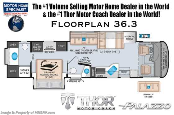 2020 Thor Motor Coach Palazzo 36.3 Bath & 1/2 RW W/ King Bed, Theater Seats, 340HP, Studio Collection Floorplan
