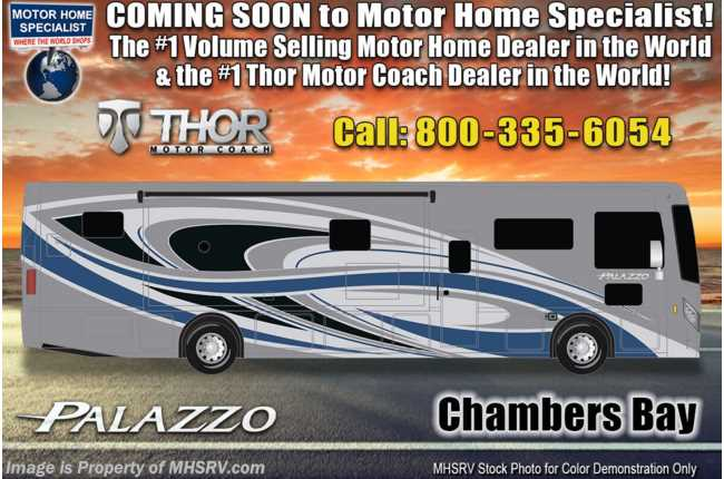 2021 Thor Motor Coach Palazzo 36.3 Bath & 1/2, King Bed, Theater Seats, 340HP, Studio Collection