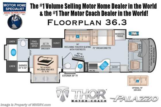 2020 Thor Motor Coach Palazzo 36.3 Bath & 1/2, King Bed, Theater Seats, 340HP & Studio Collection Floorplan