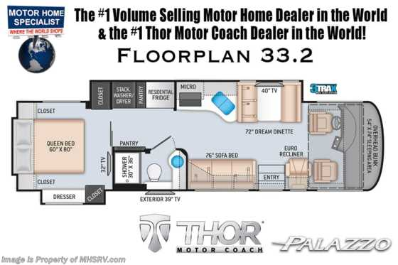 2020 Thor Motor Coach Palazzo 33.2 Diesel Pusher W/300HP, Stack W/D, OH Loft, Studio Collection Floorplan