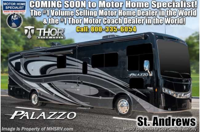 2021 Thor Motor Coach Palazzo 33.2 300HP Diesel Pusher, Stack W/D, Pwr OH Loft, Studio Collection