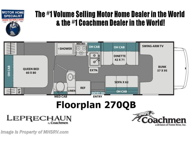 Floorplan of 2021 Coachmen Leprechaun 270QB