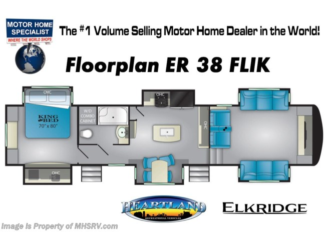 Floorplan of 2020 Heartland ElkRidge ER 38 FLIK