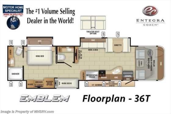 2021 Entegra Coach Emblem 36T Bath & 1/2 Bunk Model W/ Theater Seats, OH Loft, King & W/D Floorplan