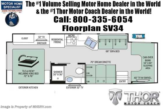 2021 Thor Motor Coach Magnitude SV34 4x4 330HP Diesel Super C RV for Sale @ MHSRV W/ 300HP Floorplan